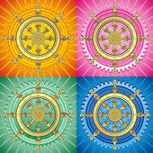 Dharmacakra - dharma wheel — Stock Vector