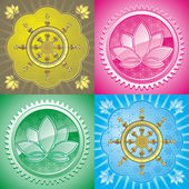 Set of oriental pattern with lotus and dharmacakra — Stock Vector