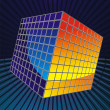 Color cube consisting of thousands of cubes in space — Stock Vector
