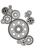 Industrial still life - arrangement of gears, isolated on white — Stock Vector