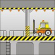 Electric forklift in an industrial zone - Imagens vectoriais em stock