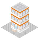Isometric projection of a three-storey building, isolated on white — Stock Vector