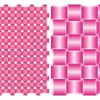Set of backgrounds, interlocking pink silk ribbons — Vettoriali Stock