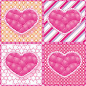 Set of hearts on the graphic background. manual work, the line of yarn, sil — Stock Vector