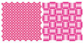 Set of backgrounds, interlocking pink silk ribbons — Stock Vector