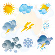 Stock Vector: Set of weather icons day and night
