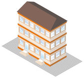 Isometric projection of building, isolated on white — Stock Vector