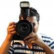 Stock Photo: Photographer with professional Camera