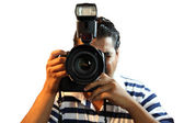 Photographer with professional Camera — Stock Photo