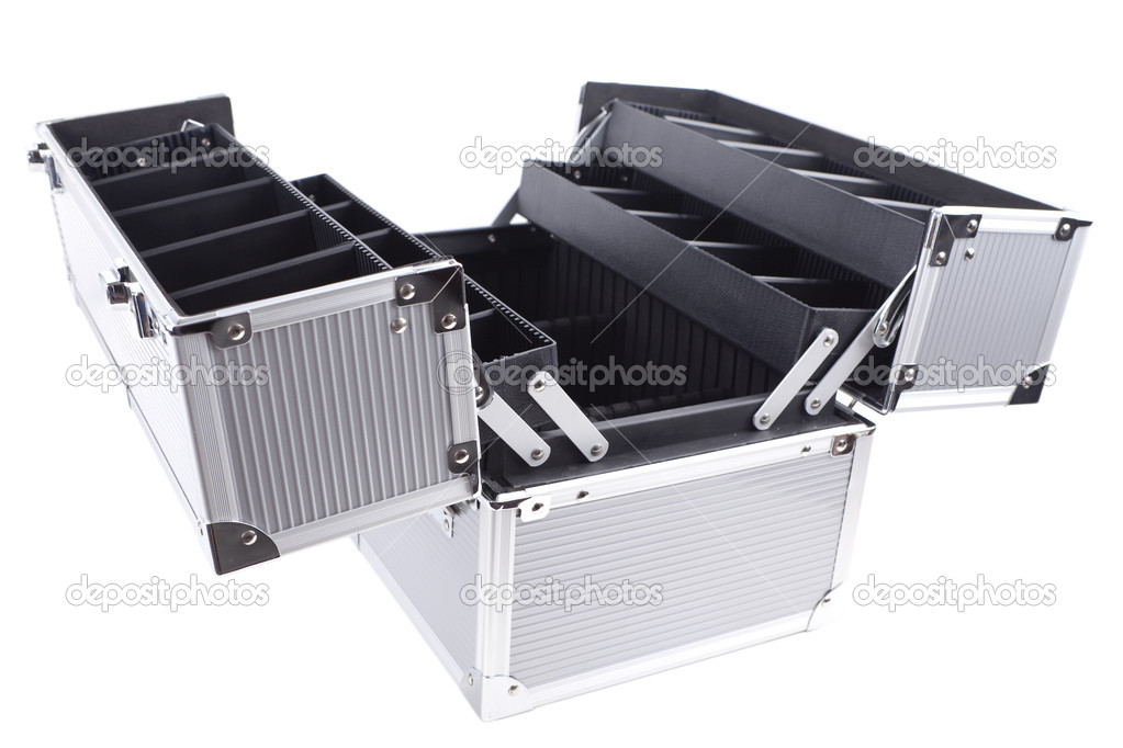 Empty professional aluminum makeup box — Stock Photo #3952898