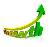 Gradient colored arrow and the word Growth — Stock Photo