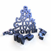 Growth pyramid with dropped letters — Stock Photo