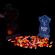 Halloween Candy, Lantern and Gravestone — Stock Photo
