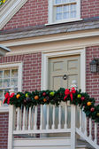 Porch Decorated For Christmas — Stock Photo