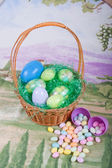 Easter Basket With Jellybeans — Stock Photo