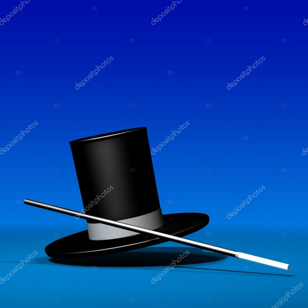 Magic hat in different styles with magic wand - 3d illustration — Stock Photo #4665739