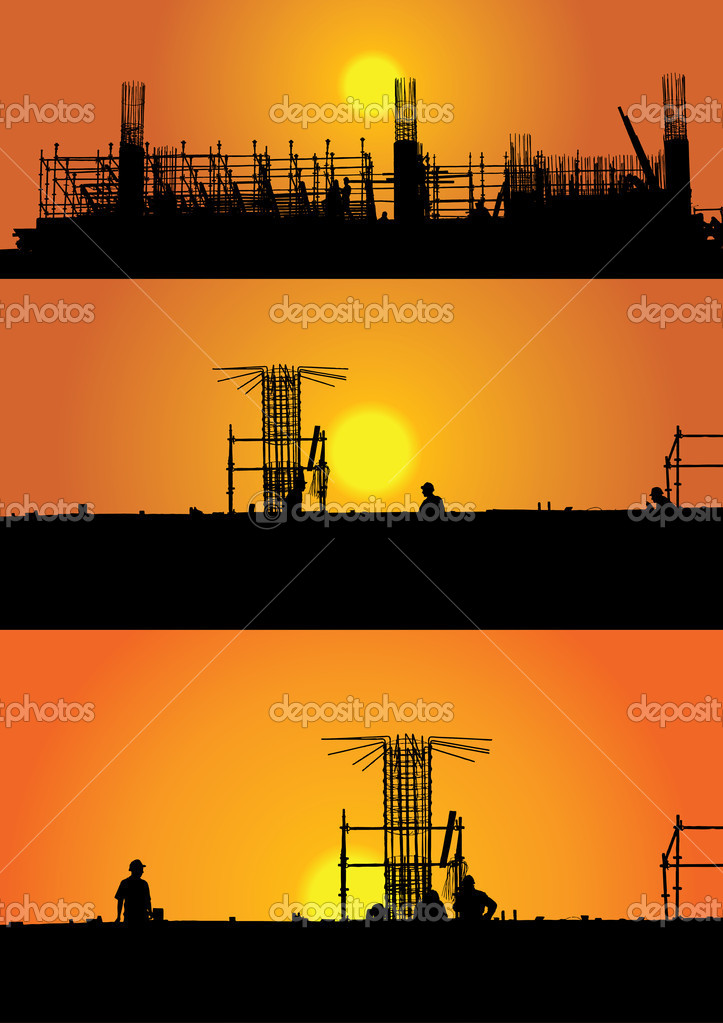 Illustration with three construction views in sunset  — Stock Vector #4665043