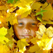 Face of child in leaves in autumn — Stock Photo #4042094