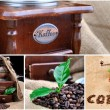 Stock Photo: Collage vintage coffee grinder, sign coffe from coffee granules and coffee
