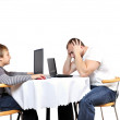 Stock Photo: Man lose in online game with child