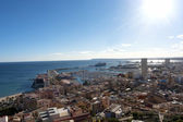 Panorama of harbor of Alicante city — Stock Photo