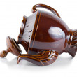 Brown ceramic teapot — 图库照片