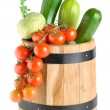 Wooden barrel with vegetables — Stock Photo
