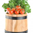 Barrel with vegetables — Stock Photo