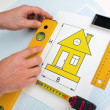 Drawing at home with construction tools — Stock Photo #5267496