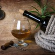 Stock Photo: Bottle of wine wrapped with rope