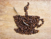 Picture a cup of coffee made from beans — ストック写真