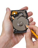 Record information on the hard disk — Stock Photo