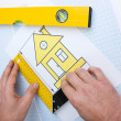 Drawing at home with construction tools — Stock Photo #5317831