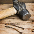 Royalty-Free Stock Photo: Hammer with a rusty nail