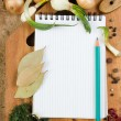 Notebook to write recipes with spices — Foto de Stock