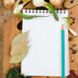 Notebook to write recipes with spices — 图库照片
