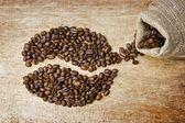 主板上的咖啡豆 — 图库照片