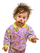 Curious toddler with chocolate dirty face — Stock Photo
