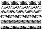 Meandro y onda. ornamento del griego antiguo. — Vector de stock