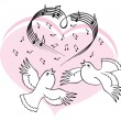Birds sing a song of love. — Stock Vector