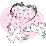 Birds sing a song of love. — Stock Vector