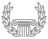 Antique Greek Column and Laurel — Stock Vector