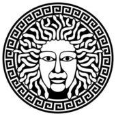 Illustration of Medusa Gorgon head with snake hair. — Stock Vector