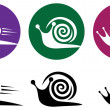 Snail. Vector icon set. - Stock Vector
