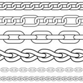 Chain. Set of seamless vector borders. — Stock Vector