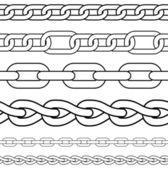 Chain. Set of seamless vector borders. — Stock Vector