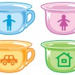 Bright kids potty with silhouettes of boy, girl, car, house. — Stock Vector