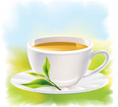 Cup of tea and a natural green leaf. Sunny landscape. — Stock Vector