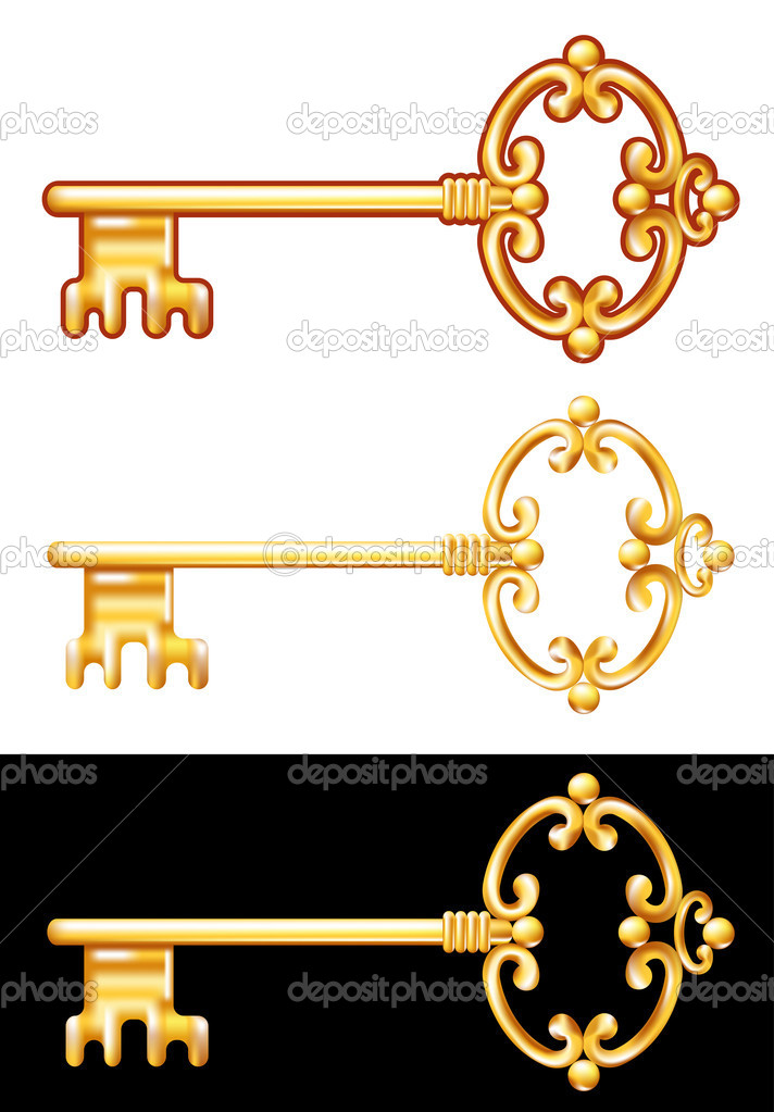 Golden Key. Vector illustration. — Stock Vector #5241867