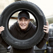 Checking Car Tire — Stock Photo